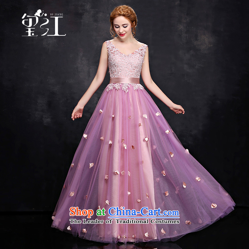 Seal Kit 2015 Winter Jiang bows Korean new bride wedding dress red lace-shoulder length) V-Neck Strap evening dresses dresses female pink tailored