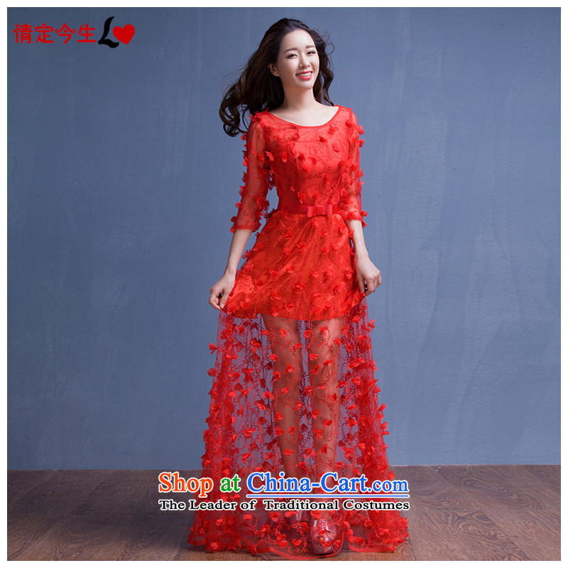 Love of the overcharged?by 2015 new autumn and winter evening dresses Korean brides bows services long red wedding dress women Sau San Red?L