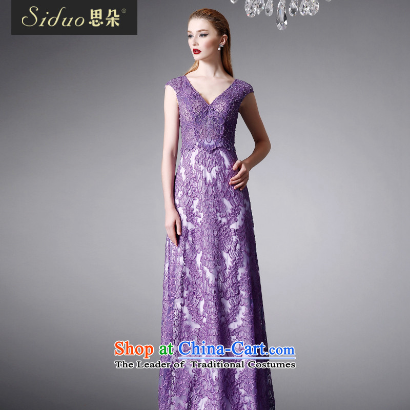 Cisco's western dress dress with female Long Purple luxury retro palace dress deep V exhibition will chair the dress autumn 80419 purple?L