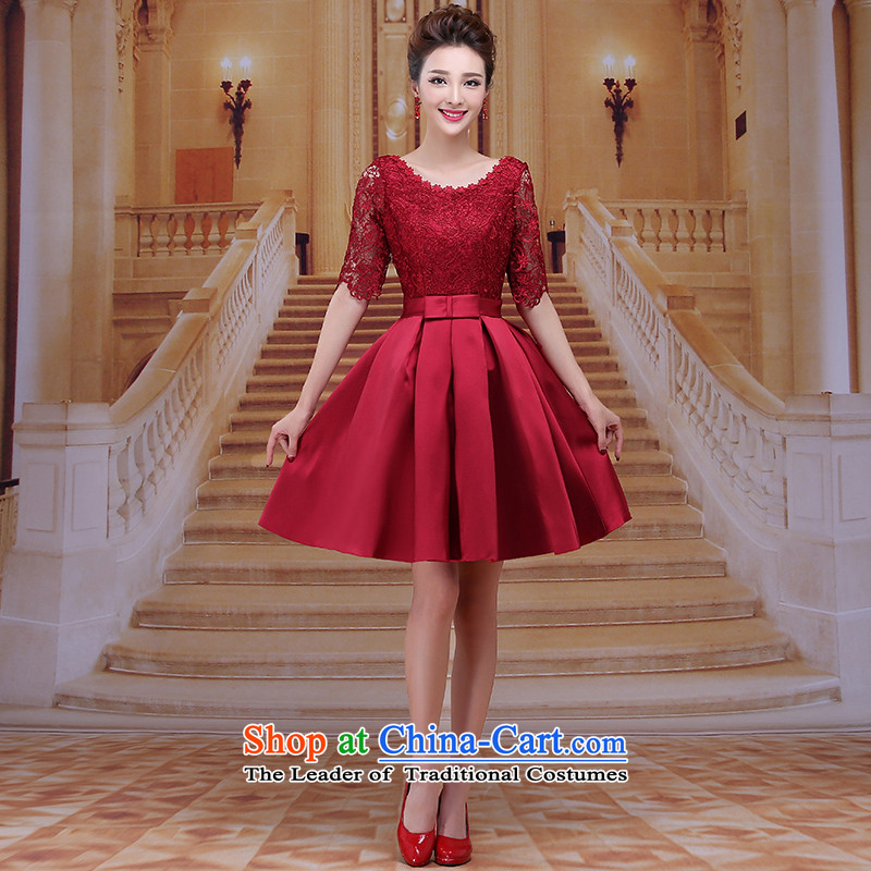 Tim red makeup bridesmaids Annual Dinner of the marriages bows short skirts winter wedding dresses 2015 new sexy short skirts bridal dresses evening dresses LF39 dark red聽L