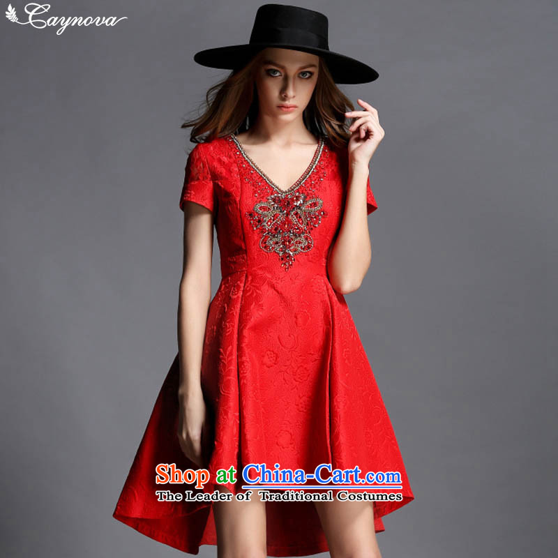 Caynova2015 autumn and winter new retro heavy industry diamond set the Pearl River Delta V-Neck Jacquard Sau San dress skirt red?XL