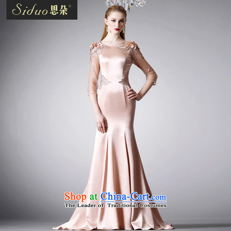 The moderator evening dress autumn and winter New Sau San video thin dress sexy package and skirt dress 80440 crowsfoot rose gold?L