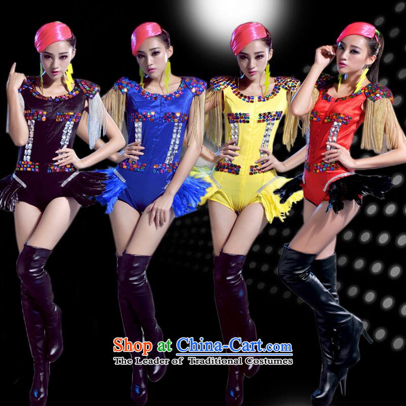 The 2015 New Night Club Bar Western female singer stage costumes ds will new dj dance wearing colored drill chain-yi and sexy dance services Black?XL tube