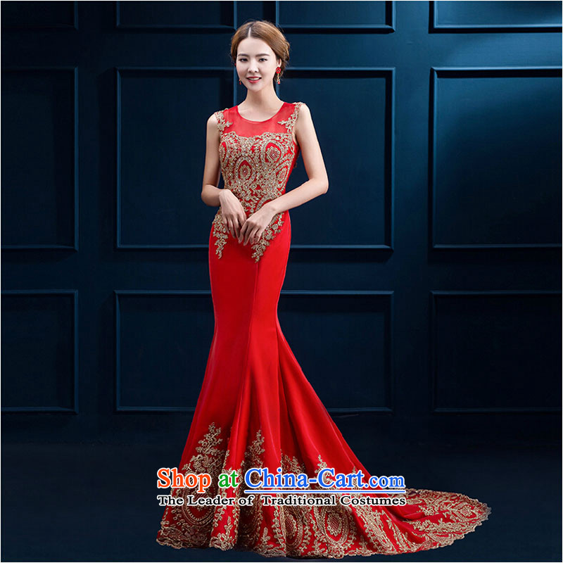 Pure Love bamboo yarn crowsfoot embroidery upscale long serving dinner drink marriages annual concert wedding dresses 2015 new large red tail?XL