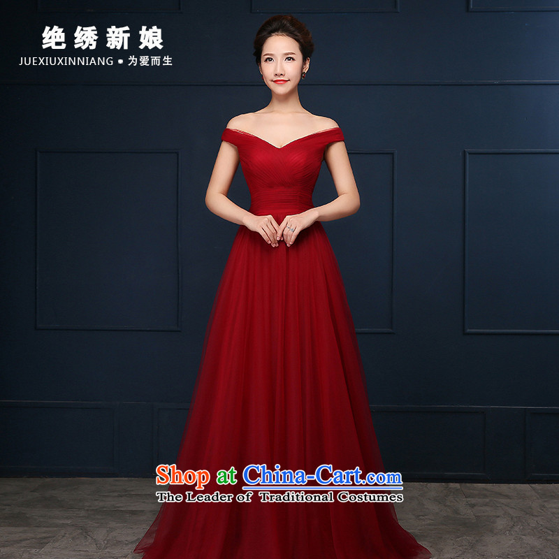 2015 WINTER new Korean long large graphics thin slotted shoulder evening dresses bride banquet evening dresses red�S�Suzhou Shipment