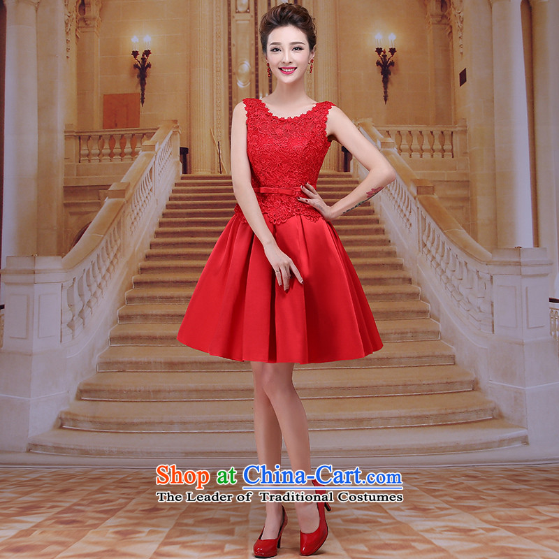 Tim red makeup bridesmaids Annual Dinner of the marriages bows short skirt wedding dress 2015 winter new sexy short skirts bride dress evening dresses LF038 RED聽XL