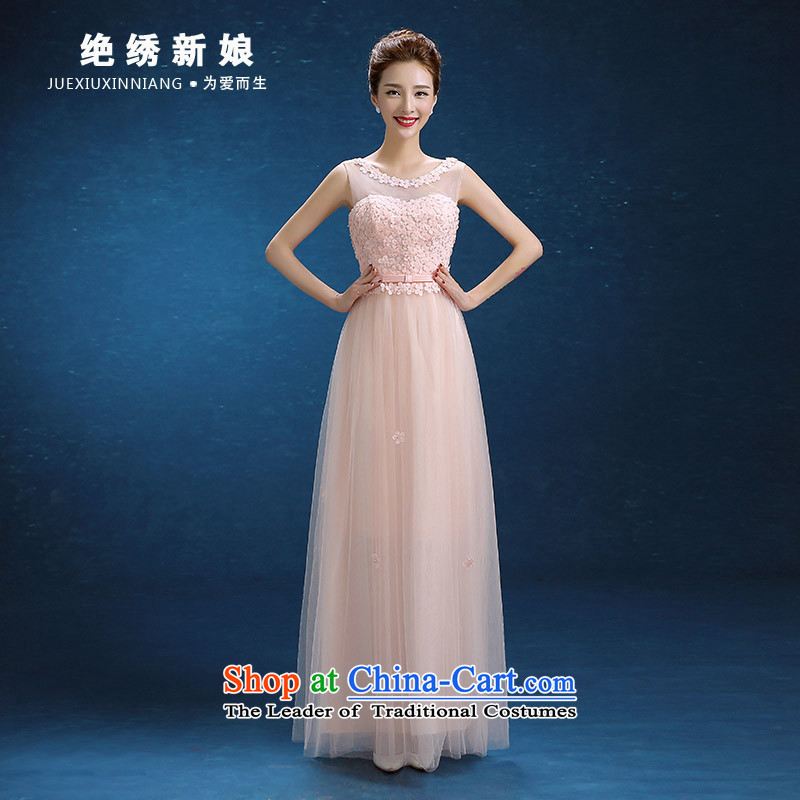 2015 WINTER new anointed chest Korean long large graphics thin bride banquet evening dresses pink tailor-made does not allow