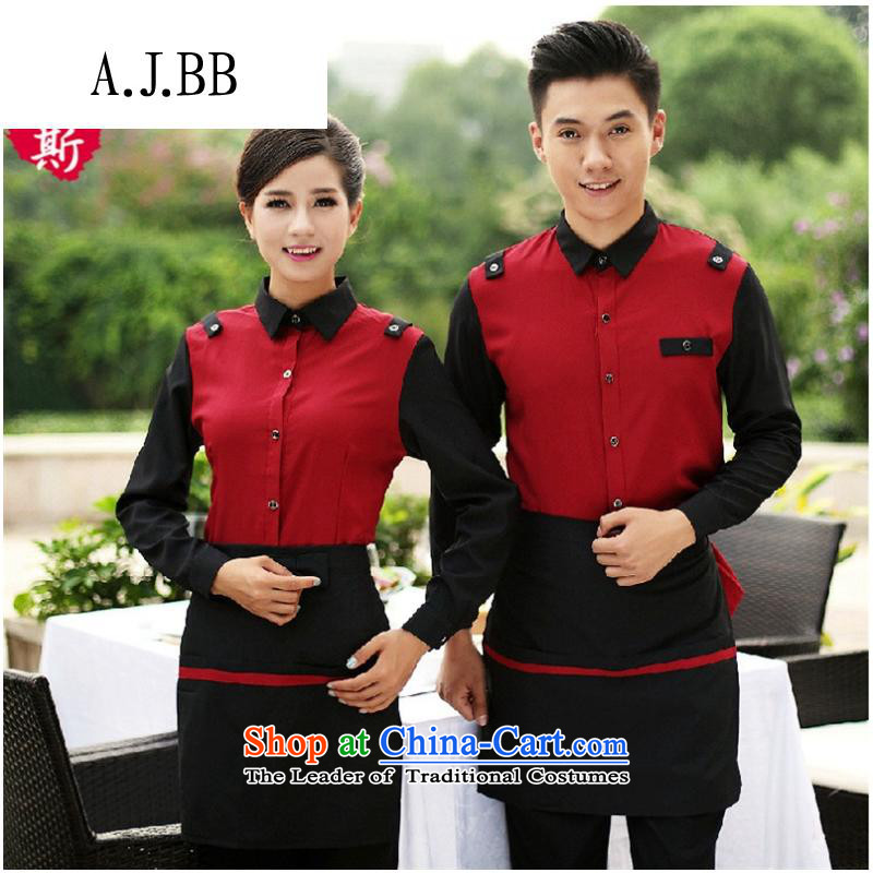Secretary for autumn and winter clothing *2015 involving new products and Hot Pot Restaurant Cafe Workwear vocational shirt long-sleeved black male female (T-shirt) XXL