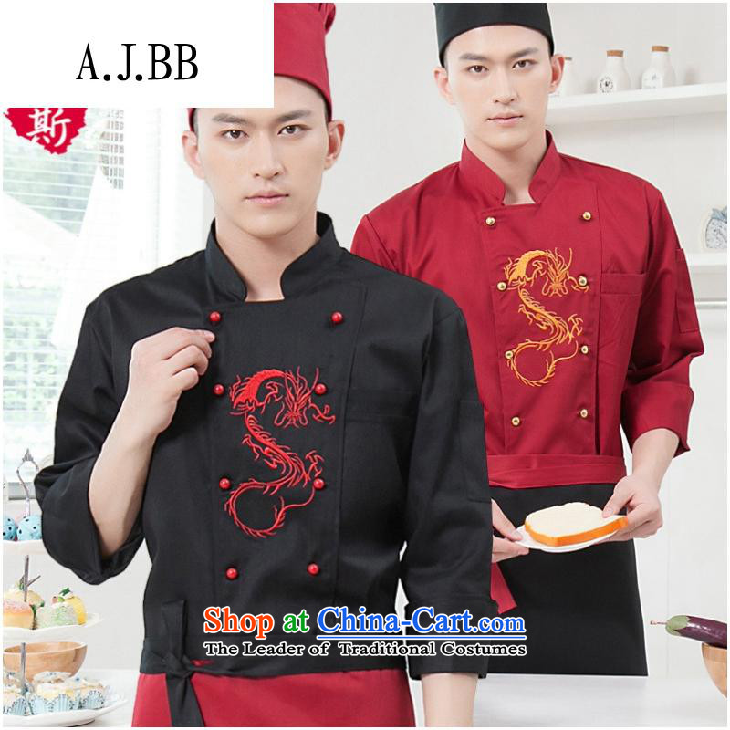 Secretary for long-sleeved *2015 clothing to fall and winter male Hotel food & beverage hotel chefs workwear chef-black (T-shirt vocational + apron) XXL