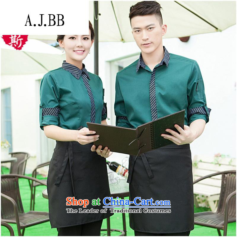 The Secretary for Health related shops _ Fall_Winter Collections long-sleeved men dining hotel cafe workwear attire with dark green shirt + Female _aprons XXXL_