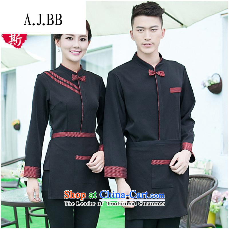 The Secretary for Health related shops _ hotel cafe autumn and winter clothing with long-sleeved men hotel restaurant with Hot Pot Restaurant in Ladies black T-shirt _red + apron_ M