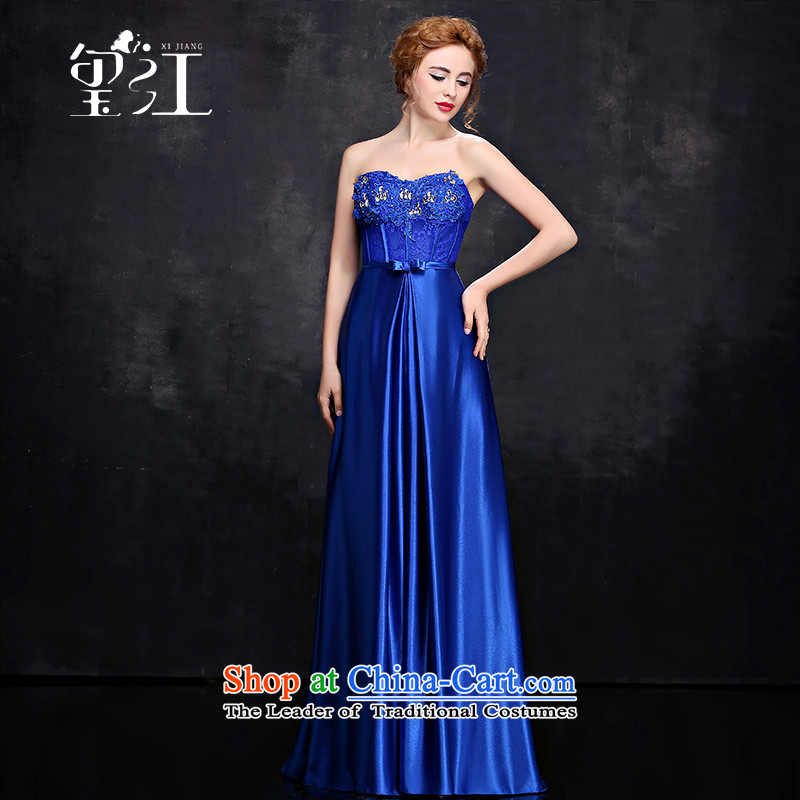 Seal Jiang evening dresses 2015 winter bridesmaid dress wedding dresses and chest bows red blue long gown Sau San video thin blue B_ Female dress?XL