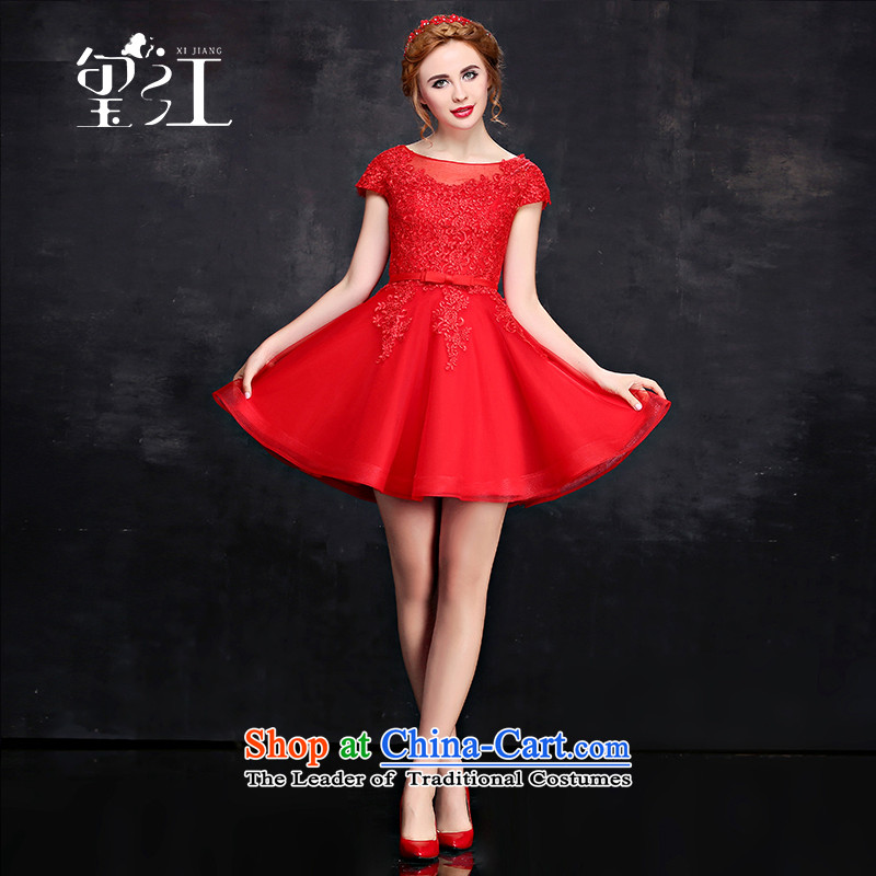 Jiang bridesmaid dresses seal 2015 winter short, two-color bridesmaid dress lace package shoulder short-sleeved round-neck collar bon bon skirt shoulders banquet moderator small Female dress red L
