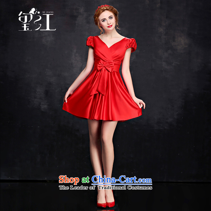 Jiang bride dresses seal bridesmaid services 2015 winter is long, shoulders V-neck strap for larger short-sleeved gown Sau San video thin followed suit Female Red short)?S