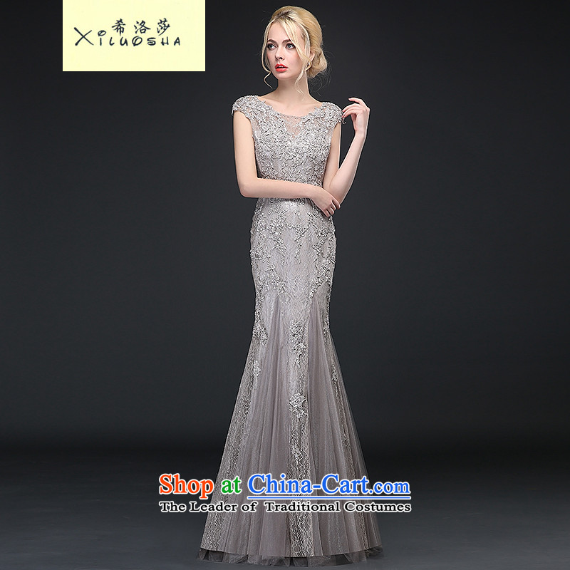 Hillo Xiluosha_baby Lisa _of the same service winter bride bows wedding dress long high-end crowsfoot custom evening dresses 2015 New Silver Gray?XL