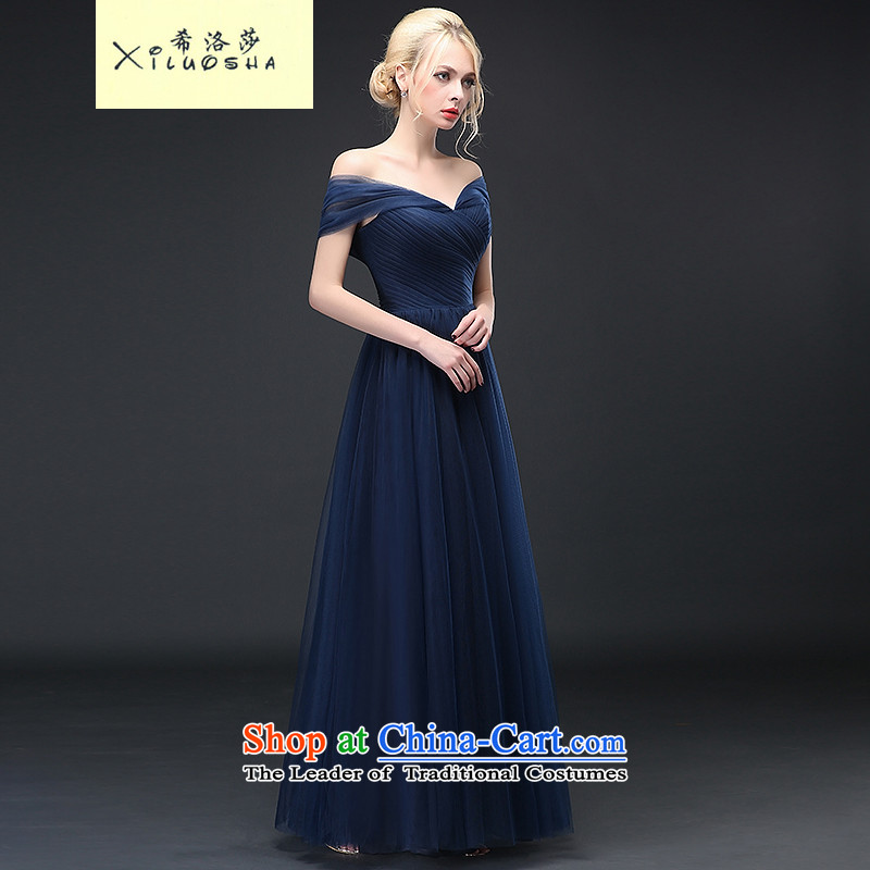 Hillo XILUOSHA_ Lisa _bride evening dresses long thin stylish one video   field shoulder marriage bows services fall and winter Blue 2015 New Dark Blue聽M