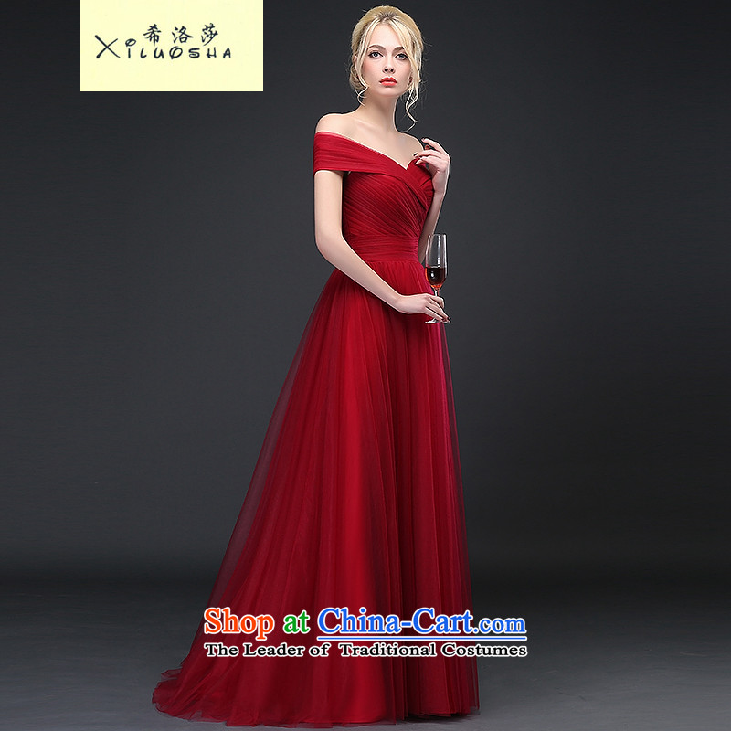 Hillo Lisa _XILUOSHA_ evening dresses long 2015 autumn and winter new bride bows service wedding dress boutique wine red slotted shoulder Korean wine red聽M