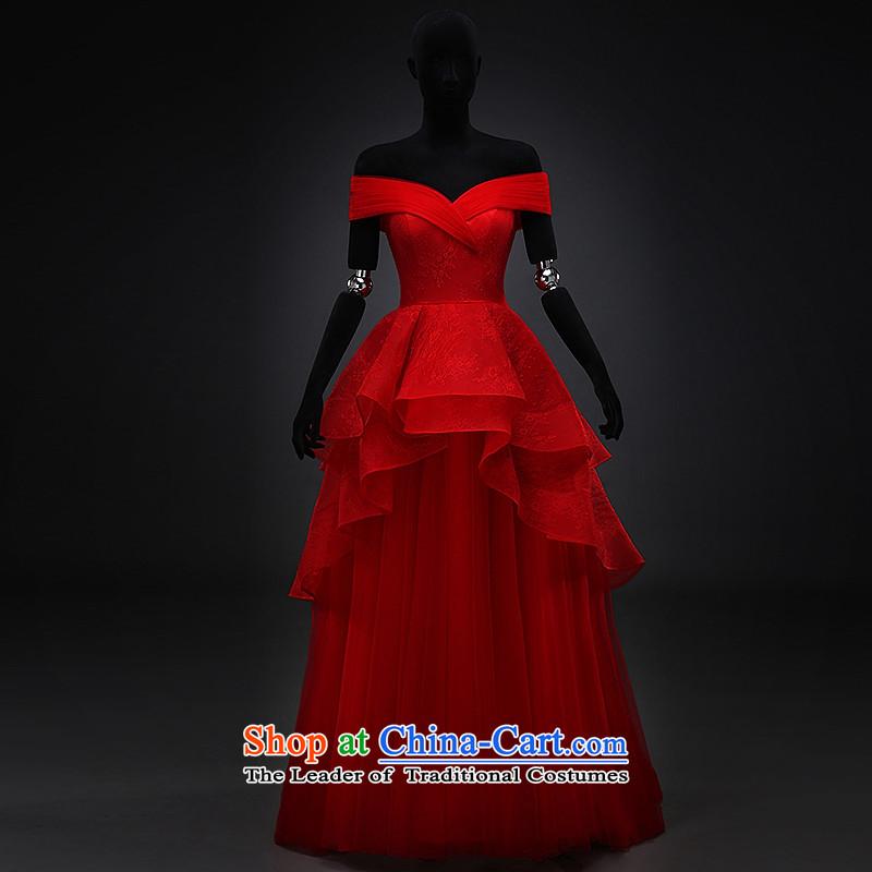 Hillo XILUOSHA) Lisa (bride bows services wedding dresses Red slotted shoulder dress pregnant women wedding dress evening dresses 2015 new winter red聽, L HILLO Lisa (XILUOSHA) , , , shopping on the Internet