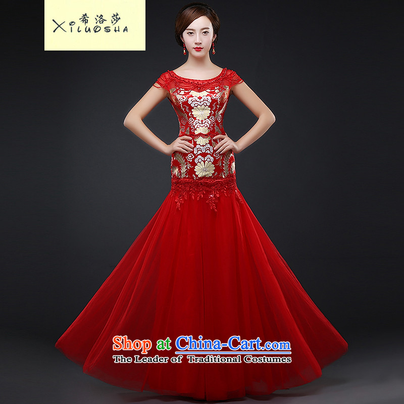 Hillo XILUOSHA) Lisa (bride bows dress wedding dress long improved services winter banquet toasting champagne cheongsam dress autumn 2015 New Red?XXL