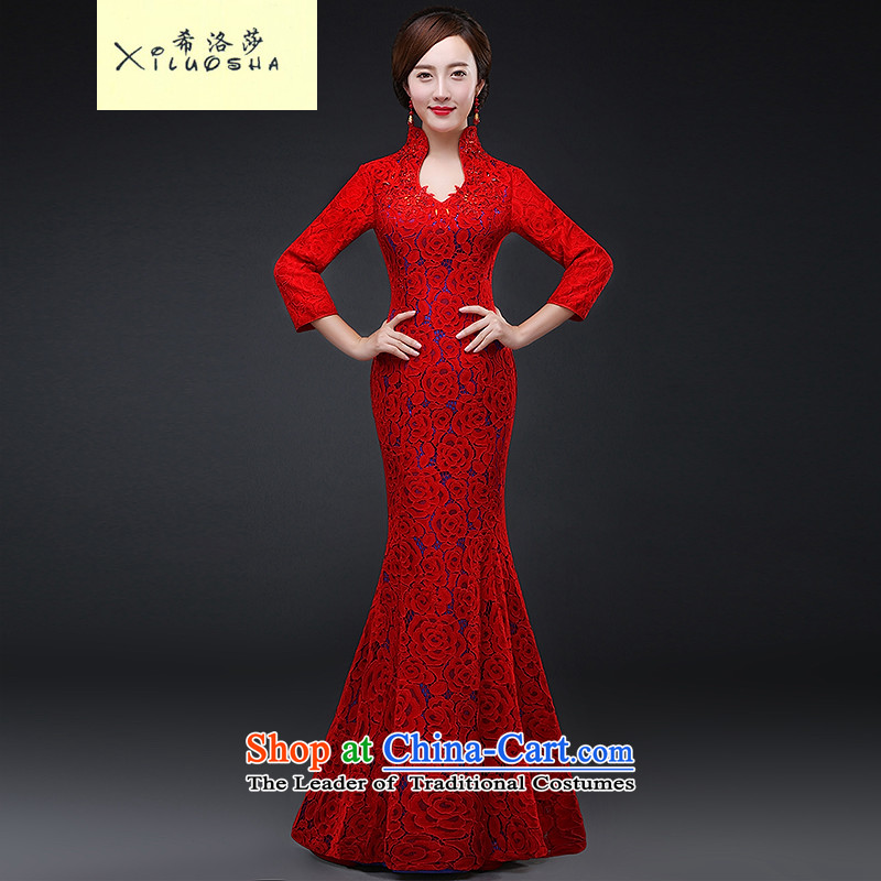 Hillo XILUOSHA) Lisa (qipao bows Service Bridal lace wedding dress wedding dresses long-sleeved crowsfoot banquet evening dresses long autumn and winter red?XXL