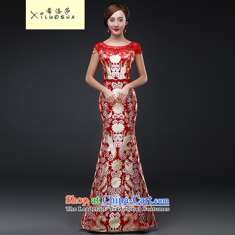 Hillo XILUOSHA) Lisa (qipao bows services   Marriage bridal dresses Chinese style wedding dresses crowsfoot embroidery 2015 autumn and winter new red L