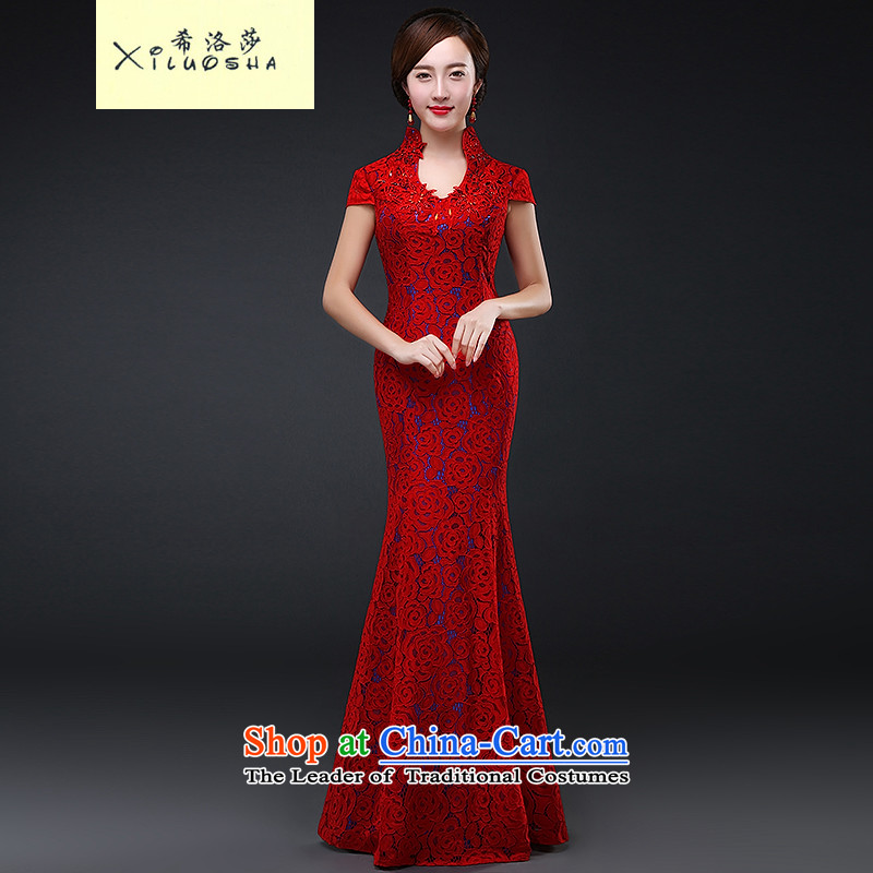 Hillo XILUOSHA) Lisa (bride��Qipao Length of Chinese cheongsam dress lace 2015 new wedding gown marriage bows qipao autumn and winter clothing red?L