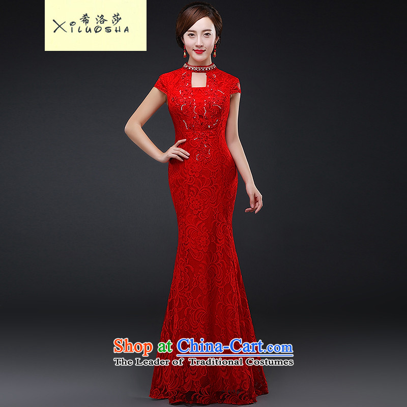 Hillo Lisa (XILUOSHA) Marriage long bride toasting champagne qipao services cheongsam wedding gown red Chinese wedding dresses new autumn 2015 crowsfoot RED?M