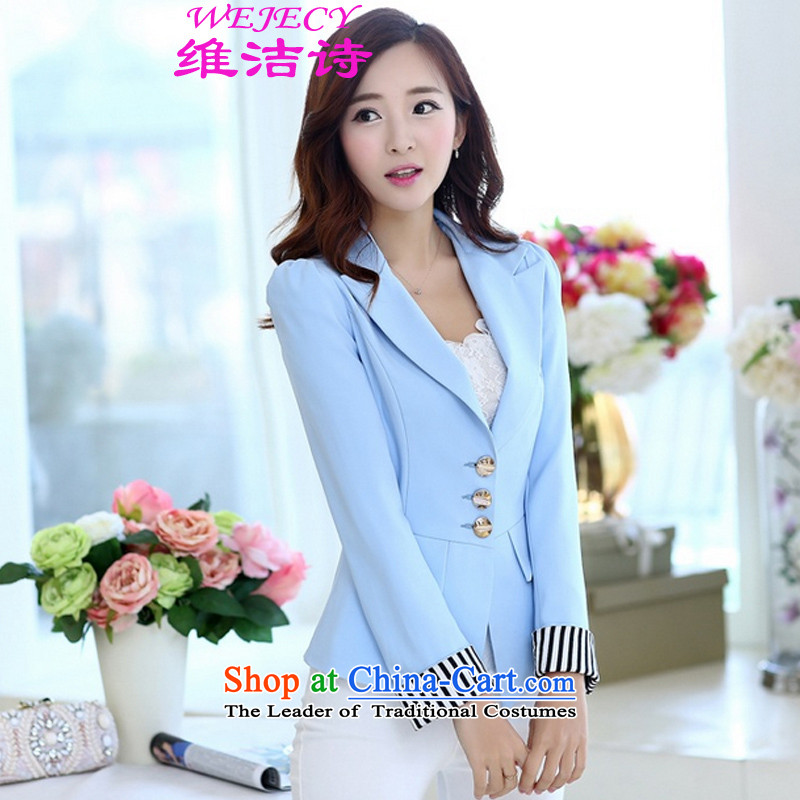 D Jie poetry?new Korean 2015 Sau San wild small jacket large female candy colored commuter short of small suit light blue?XL
