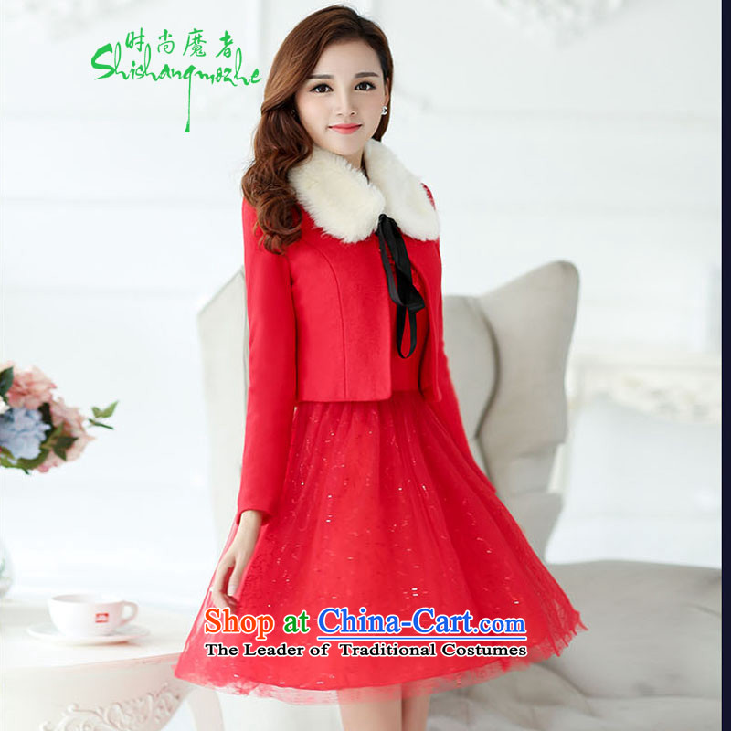 Stylish devil of the 2015 winter clothing new hair? dresses dress two kits of Sau San bride services will marry bows dress with red 51529 red hair for?L