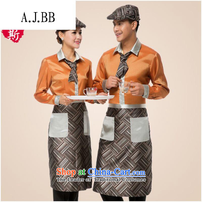 The Secretary for Health related shops * teahouse tea Huashi Hotel attendants workwear female cafe long-sleeved Fall/Winter Collections male red T-shirt + apron) (XL,A.J.BB,,, shopping on the Internet