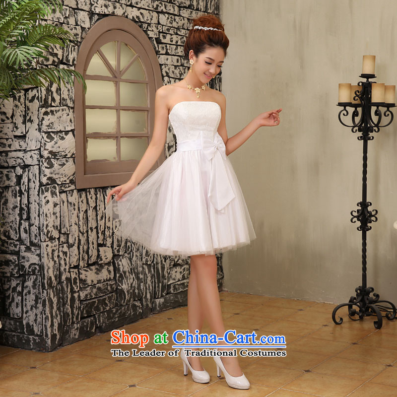 2015 new anointed chest bridesmaid services shoulder sister skirt bridesmaid mission bows services show Sau San Carlos Westendorp honey small white dress XXL