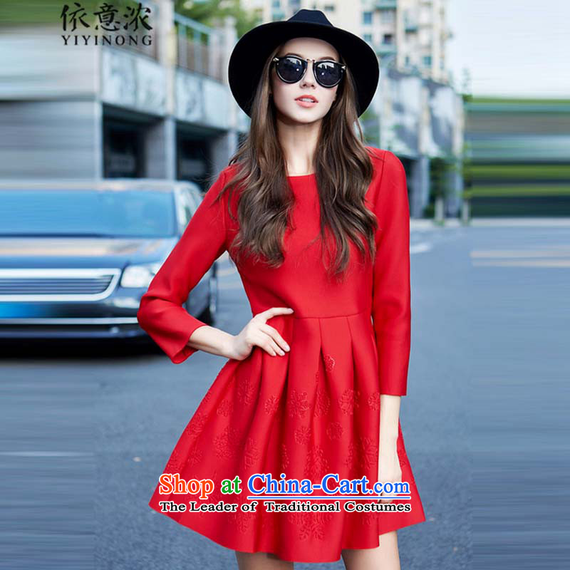 In accordance with the meaning strong red dress with new long-sleeved autumn A bride skirt bows dress princess skirt 660 Sau San Red?S
