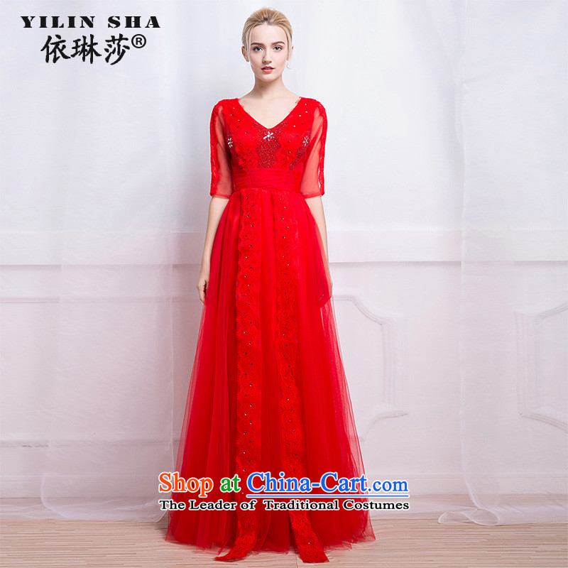 According to Lin Sha wedding dress bride bows services for autumn and winter in the long-sleeved red pearl of the nails banquet stylish evening dresses 2015 new tailored consulting customer service