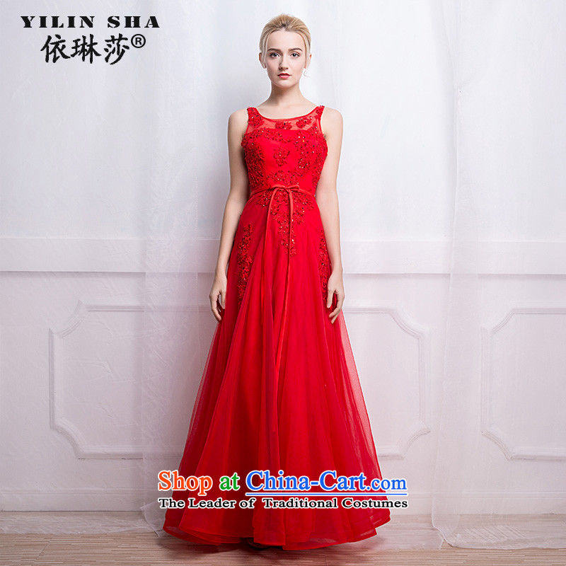 According to Lin Sha New 2015 autumn and winter bows services V-Neck long marriages under the auspices of the red lace dress back evening dress�XL