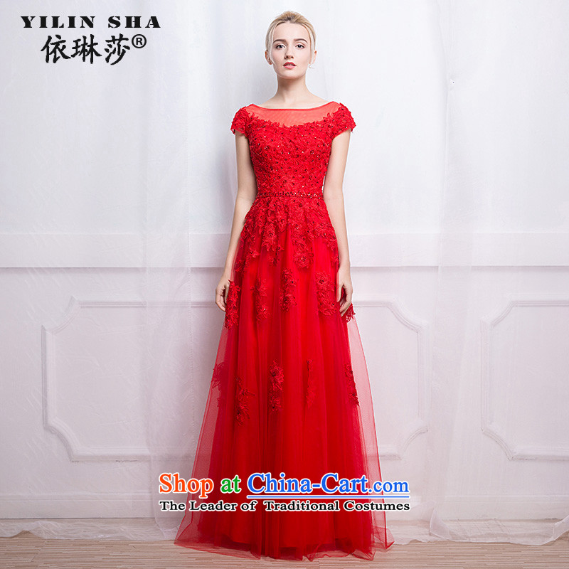 According to Lin Sha marriage evening dresses 2015 autumn and winter new Korean word   shoulder bags shoulder red long bride bows services?L