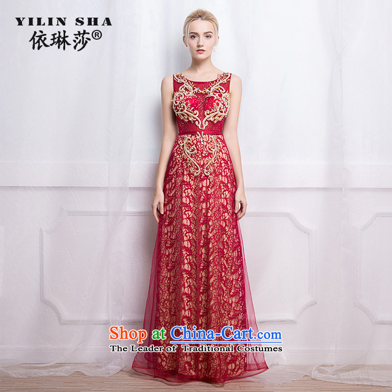 According to Lin Sha evening dresses 2015 autumn and winter new graphics thin diamond annual dinner of the word shoulder under the auspices of wine red long drink service?S