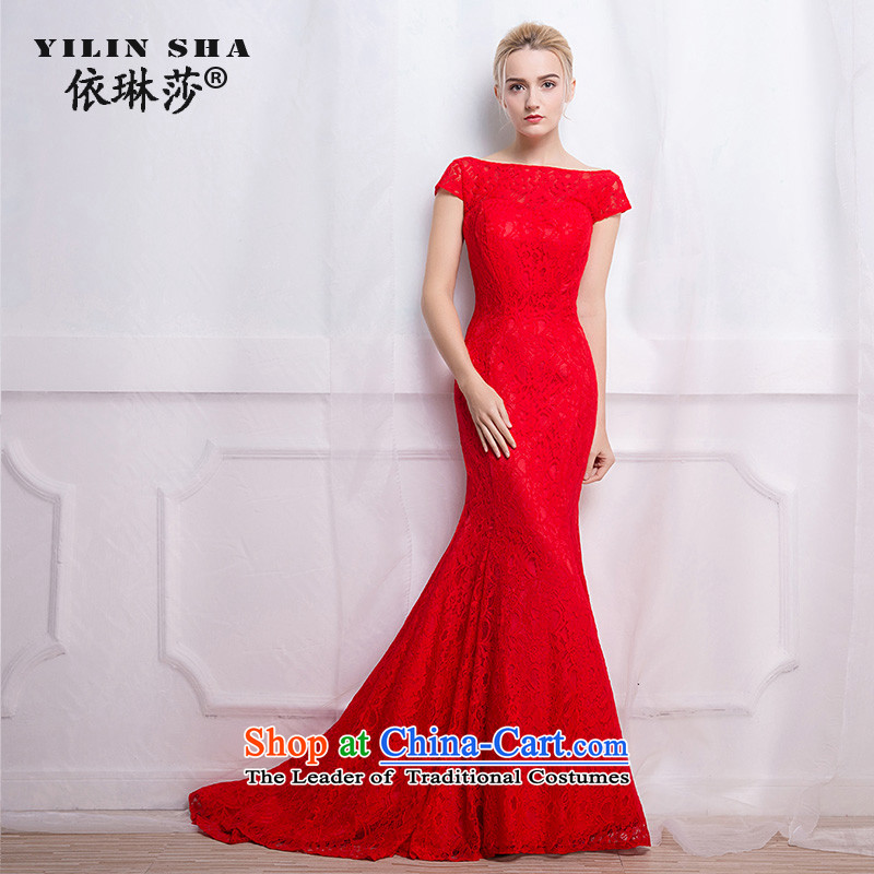 According to Lin Sa 2015 autumn and winter new marriages bows services trendy first field shoulder banquet Red Dress Sau San long?XXL