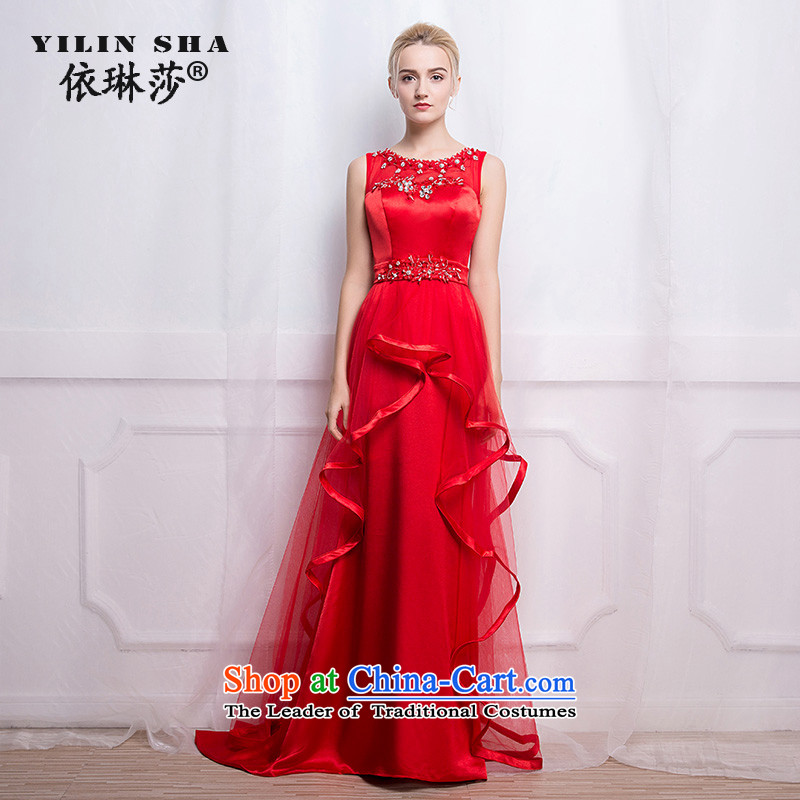 According to Lin Sha bows services 2015 autumn and winter new shoulders marriages small red tail wedding dress bows serving long tailored consulting customer service