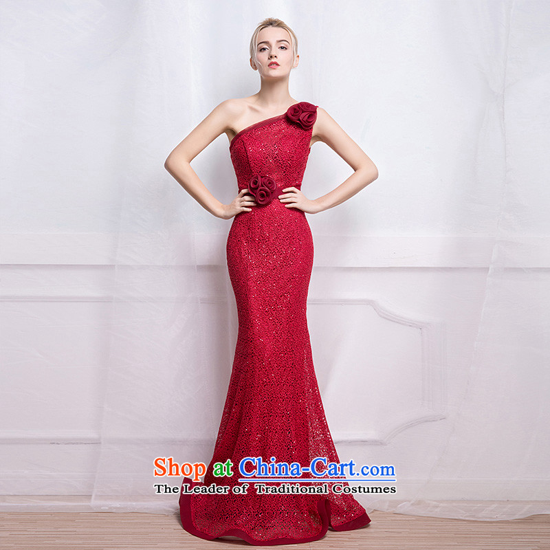 According to Lin Sha evening dresses long crowsfoot bride bows to shoulder the annual dinner of the lace presided over the new 2015 Sau San dress tailored consulting customer service