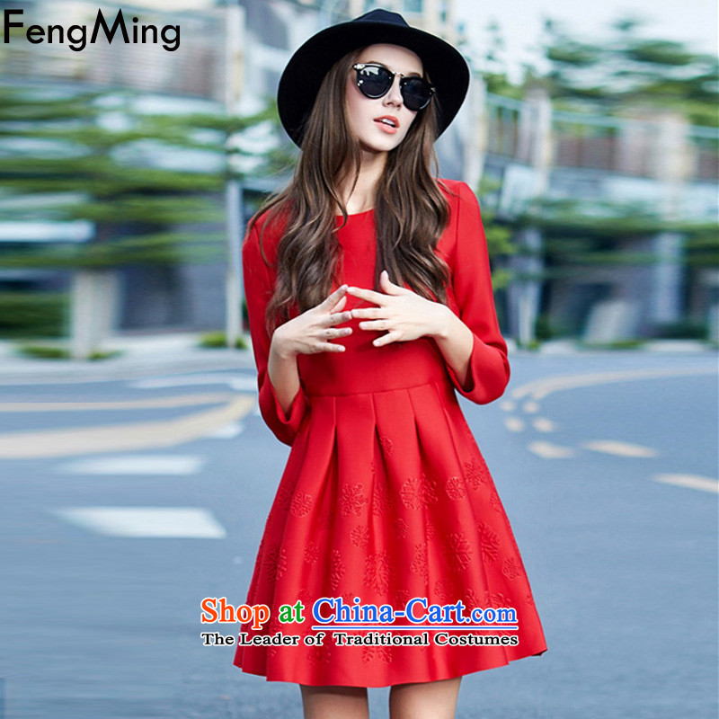 Hsbc Holdings plc Ming red autumn and winter 2015 bridal dresses new year the lift mast to drink-hi-Sau San Princess Classic skirt small red dress M