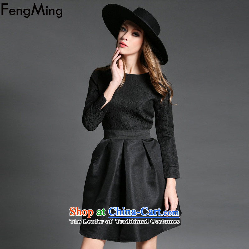 Hsbc Holdings plc Sheikh wind Ming round-neck collar red dress autumn load bride bows long-sleeved jacquard princess bon bon skirt Black XL