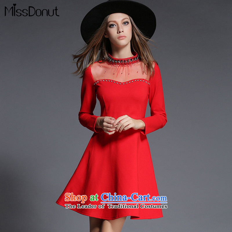 New Women's autumn missdonut2015 stapled pearl diamond collar nets stitching long-sleeved Foutune of dresses RED?M