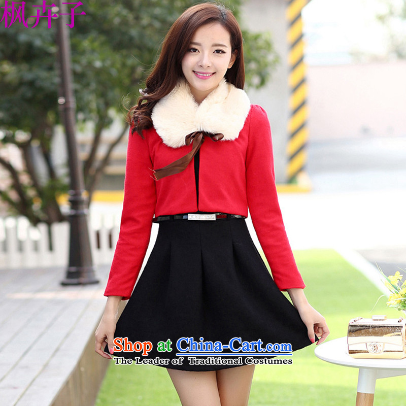 Maple Hui Sub 2015 autumn and winter so gross new aristocratic small incense for the Korean version of the Wind Gross Sau San dresses kit two kits dress jacket black skirt F3030 RED?XL