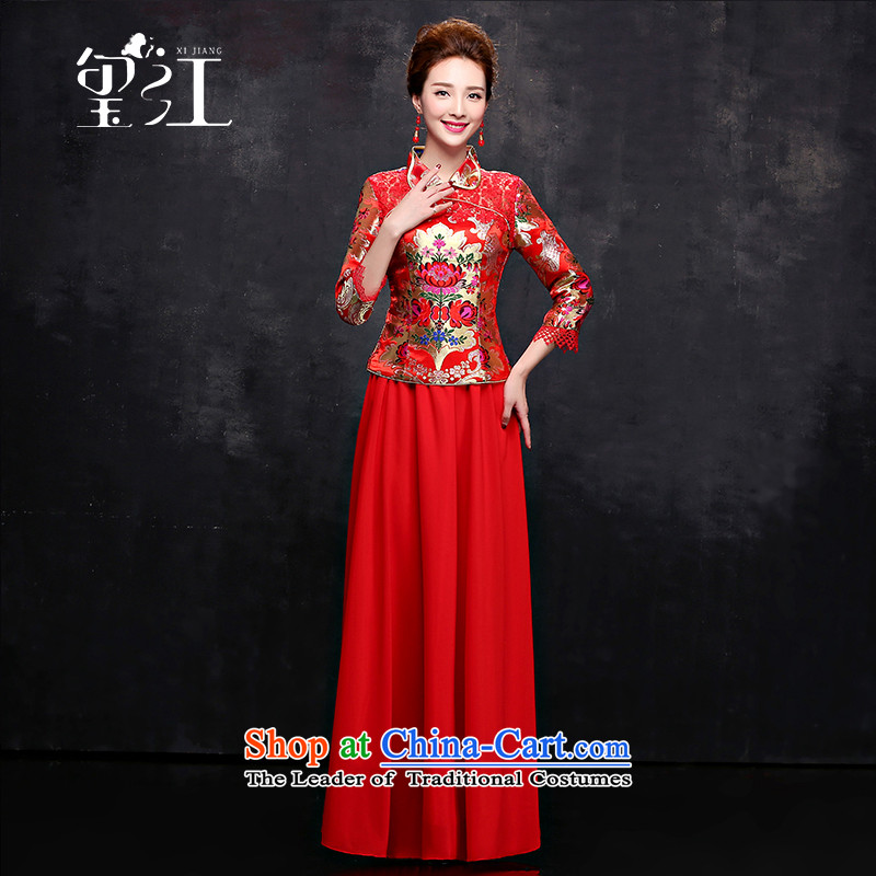 Seal the bride bows services qipao Jiang Long Red 2015 Chinese dress in autumn and winter cuff Sau San dress female red?XXL
