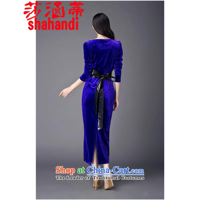 Elizabeth covered by the 2015 autumn and winter Opertti female new retro cheongsam dress up Sau San velvet gown skirt female blue?L