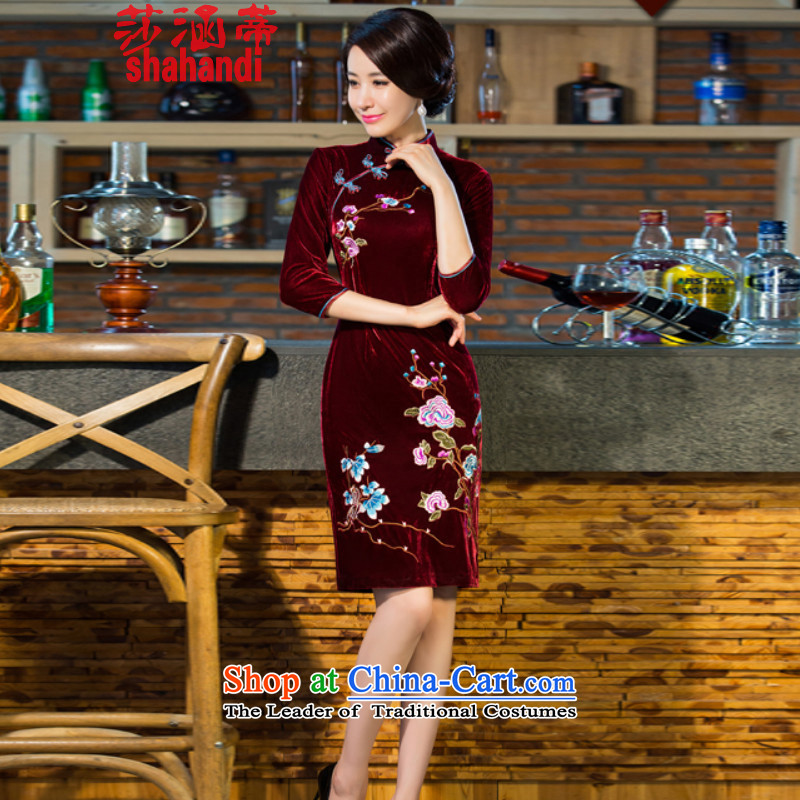 Elizabeth covered by the 2015 autumn and winter Opertti female new moms with scouring pads in the skirt qipao Kim long-sleeved wedding dresses of nostalgia for the improvement of women's wine red?XXL