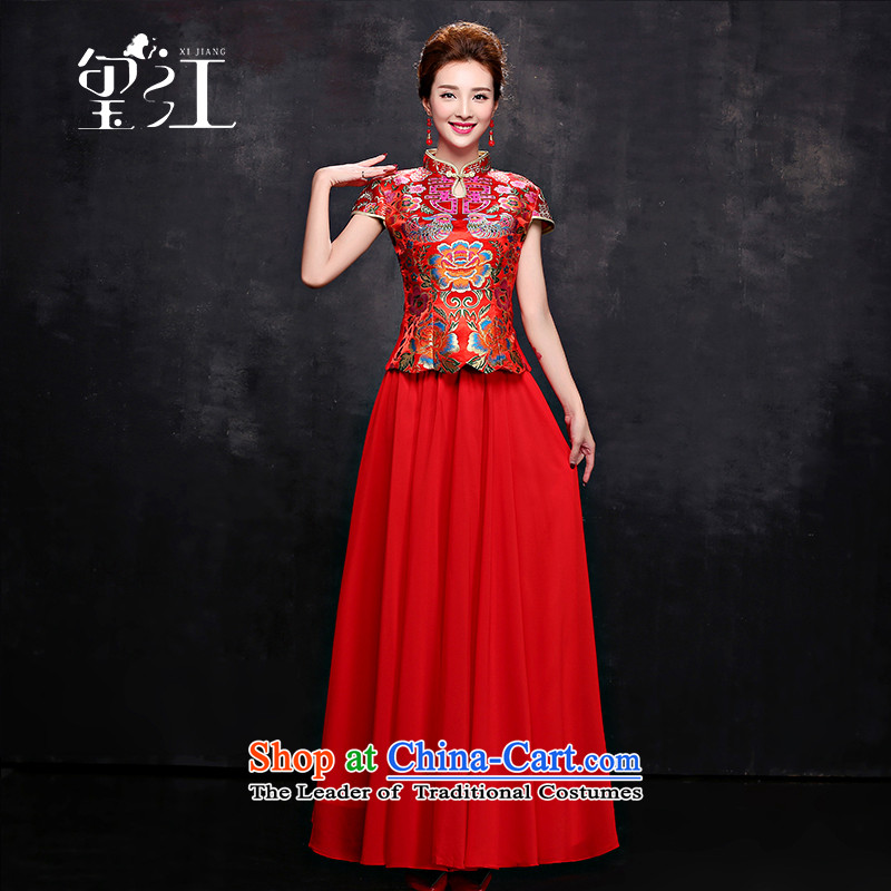 Seal Jiang marriages bows serving Chinese Dress 2015 Winter Package shoulder collar short-sleeved red long chiffon dress Sau San video thin stealth zipper red tailored