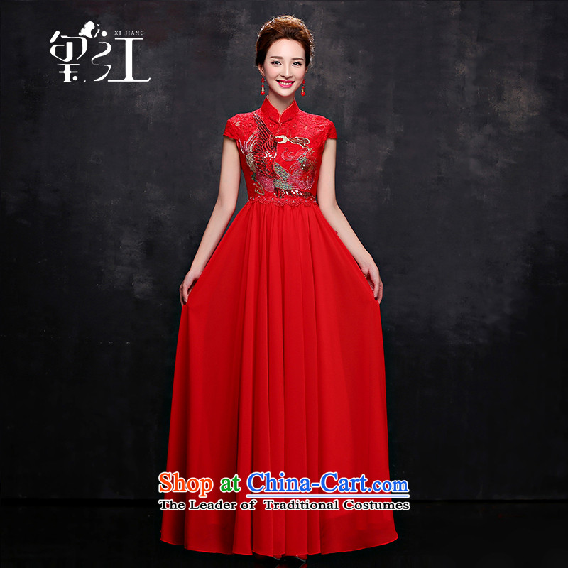 Seal the bride Chinese cheongsam dress Jiang 2015 autumn and winter wedding dress bows to red lace short-sleeved long collar shoulder stealth zipper dress package female red S