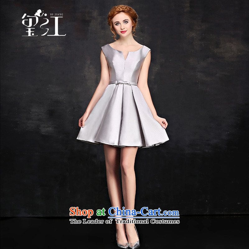 Jiang bridesmaid dresses seal 2015 autumn and winter Korean word shoulder shoulders Dress Short of champagne color small dress sister cluster banquet moderator evening dresses female Silver Gray?L