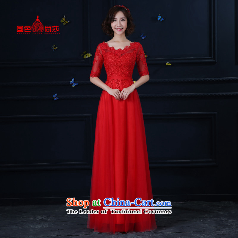 2015 new wedding dress bride bows to the autumn and winter in the long-sleeved red video thin banquet evening dresses red bows to Sau San XL